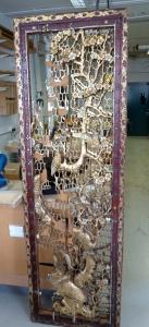 Chinese Carved Panel 1 Restoration 3 restorers London