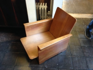 Interesting Oak armchair. Possible Arts & Crafts. Not clear whether it should have had upholstered seat and back pads but it looked very cool as it was.