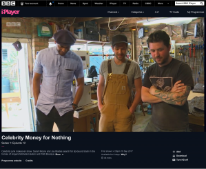 Tom & Johnny of 3 Restorers London on BBC's Money For Nothing With presenter and fellow artisan Jay Blades - discussing the finished item