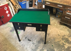 Antique furniture - Black Desk restored by 3 restorers London