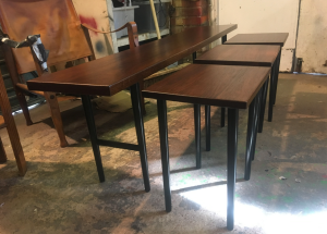 Midcentury furniture - rosewood nesting tables - 3 restorers london