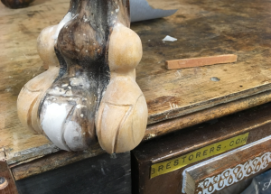 Antique furniture - carved foot restoration - 3 restorers london